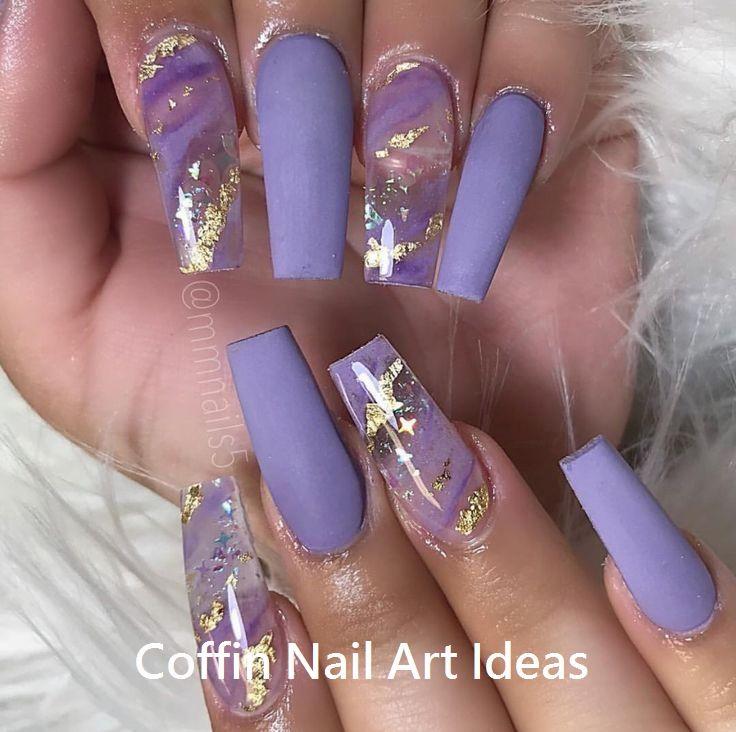 20 Trendy Coffin Nail Art Designs Coffinnails Nailideas Purple Acrylic Nails Gold Acrylic Nails Purple Nails