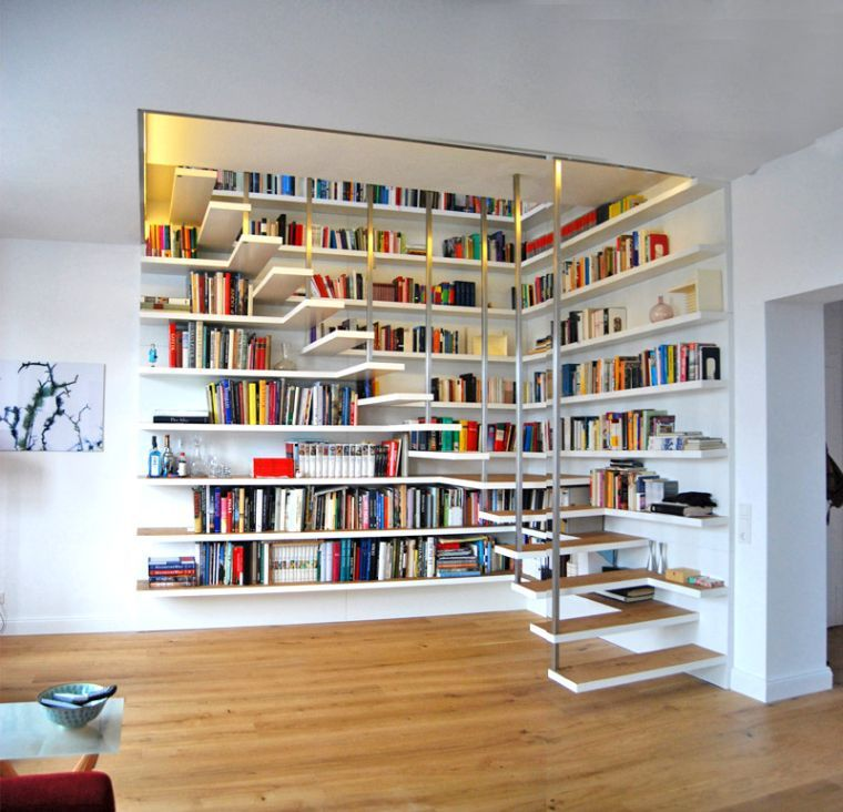 0ccdd880405952 escalier bibliothèque design en couleur blanche et escalier flottant avec  étagère murale