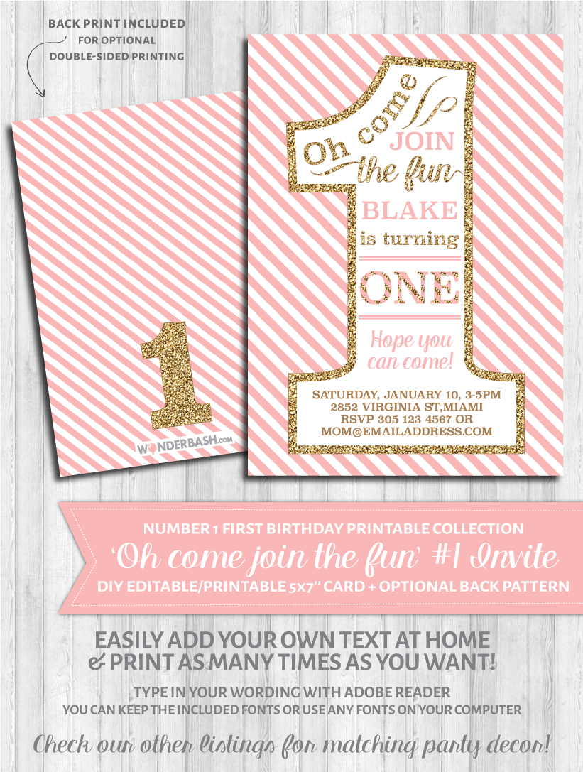 First birthday party invitations 1 blush pink and gold glitter first birthday party invitations 1 blush pink and gold glitter filmwisefo Choice Image