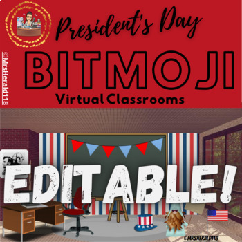1 President S Day Themed Bitmoji Classroom Background Use This Completely Editable Completely Finished Backg Virtual Classrooms Classroom Classroom Background