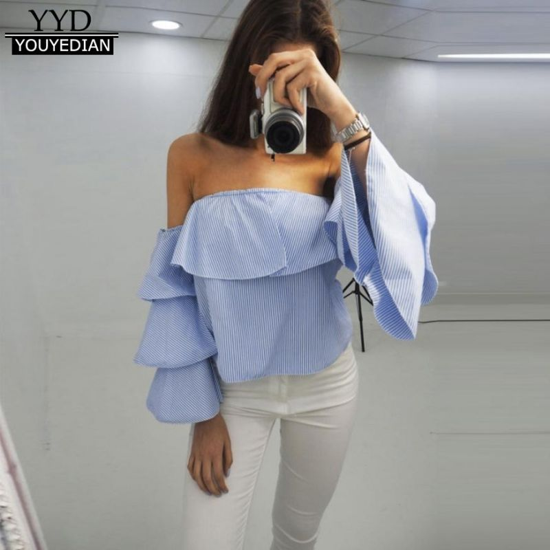 9615118fb73 New arrival 2018 sexy off shoulder blouses and tops women detachable long  sleeve striped summer spring casual tops ladies  1205  polyester