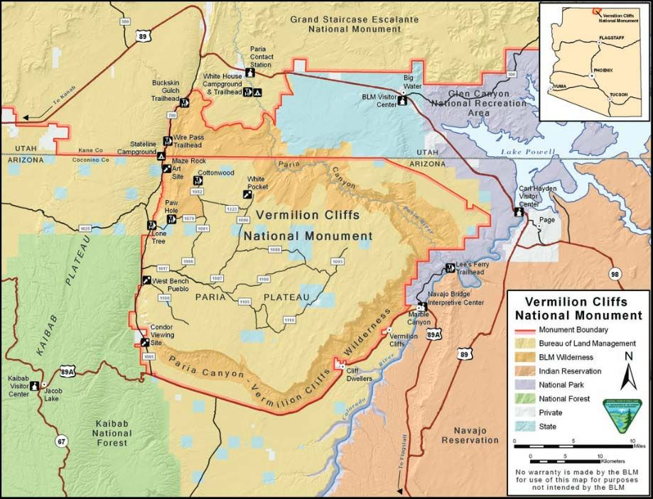 Map And Directions Vermilion Cliffs National Monument National