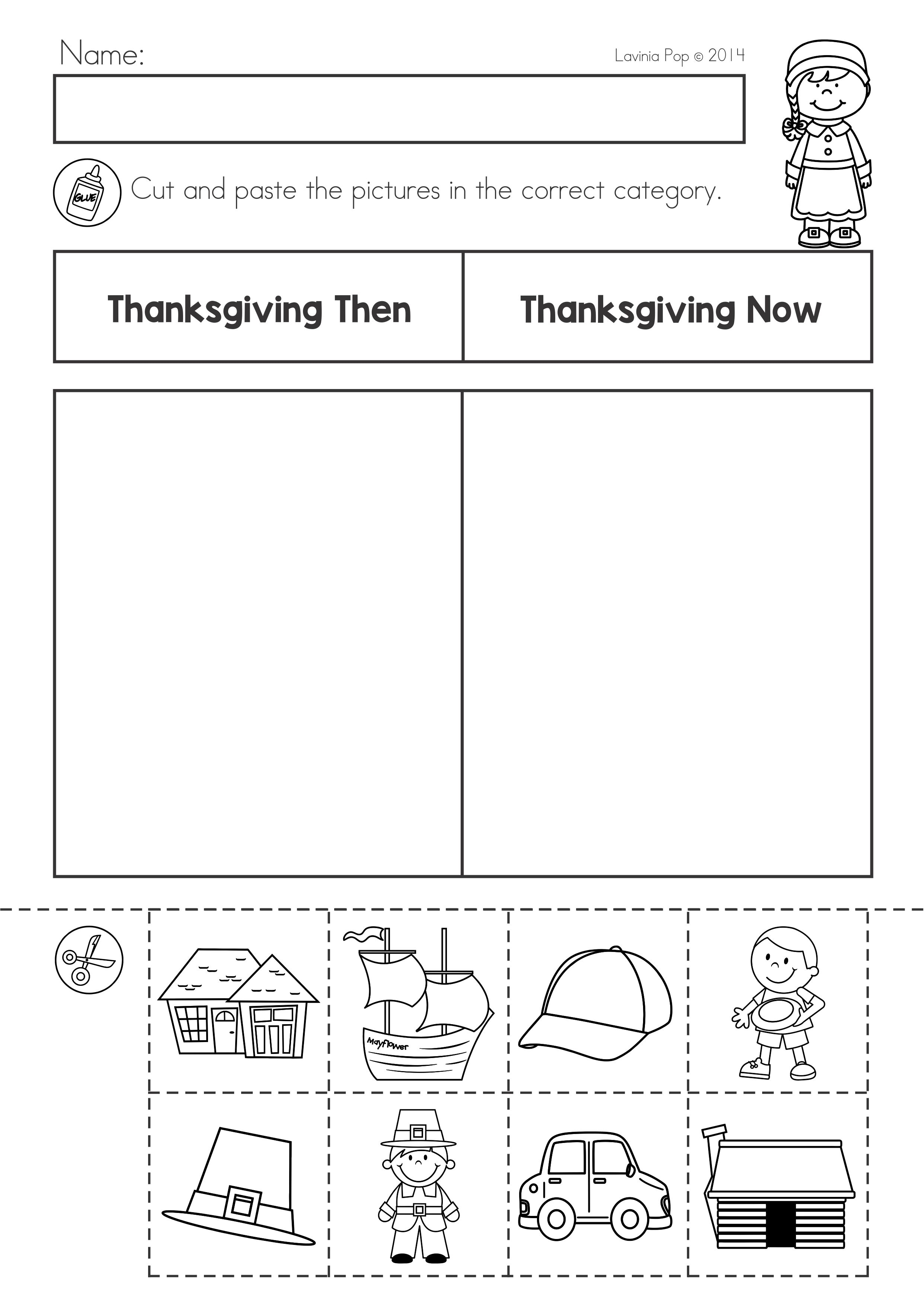 Thanksgiving Math \u0026 Literacy Worksheets and Activities for Kindergarten.  Now and then …   Thanksgiving worksheets [ 3508 x 2483 Pixel ]