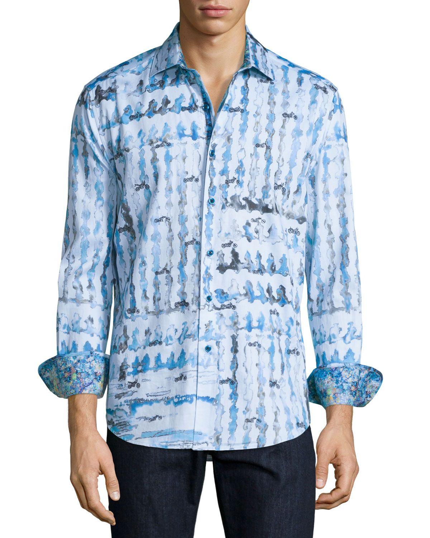 Robert Graham Mens Medium Large Tesoro Long Sleeve Dress Shirt Blue Geometric