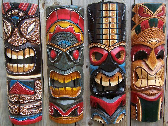 Carved Tiki Bar 4 Styles Polynesian TIKI TOTEM NEW Balinese Hand Crafted