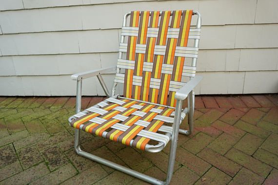 Beach Chair, Folding Aluminum Frame, Lawn Pool Outdoor Patio Furniture  Orange Yellow Brown Striped