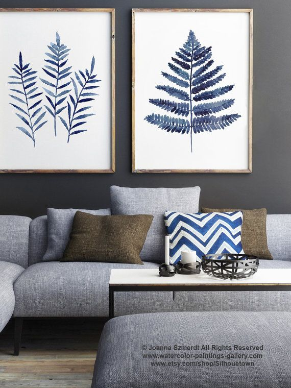 Fern Leaves Navy Blue Poster Abstract Minimalist Watercolour