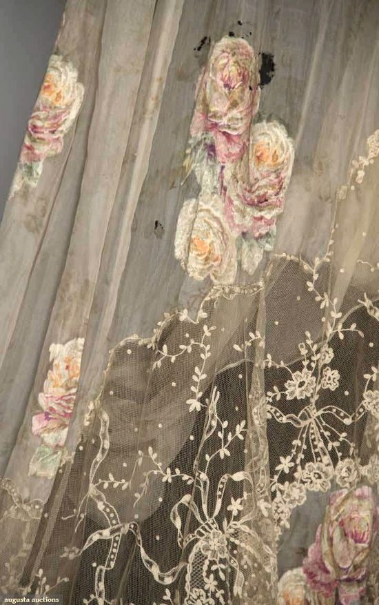 Ikea Vorhänge Rose Embroidered Antique Tulle Drape | Shabby Chic, Romantic