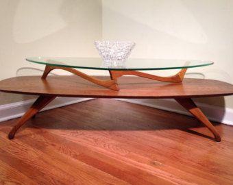 Mid Century Coffee Table, Vladimir Kagan Inspired, Walnut, Two Tiered, Coffee  Table