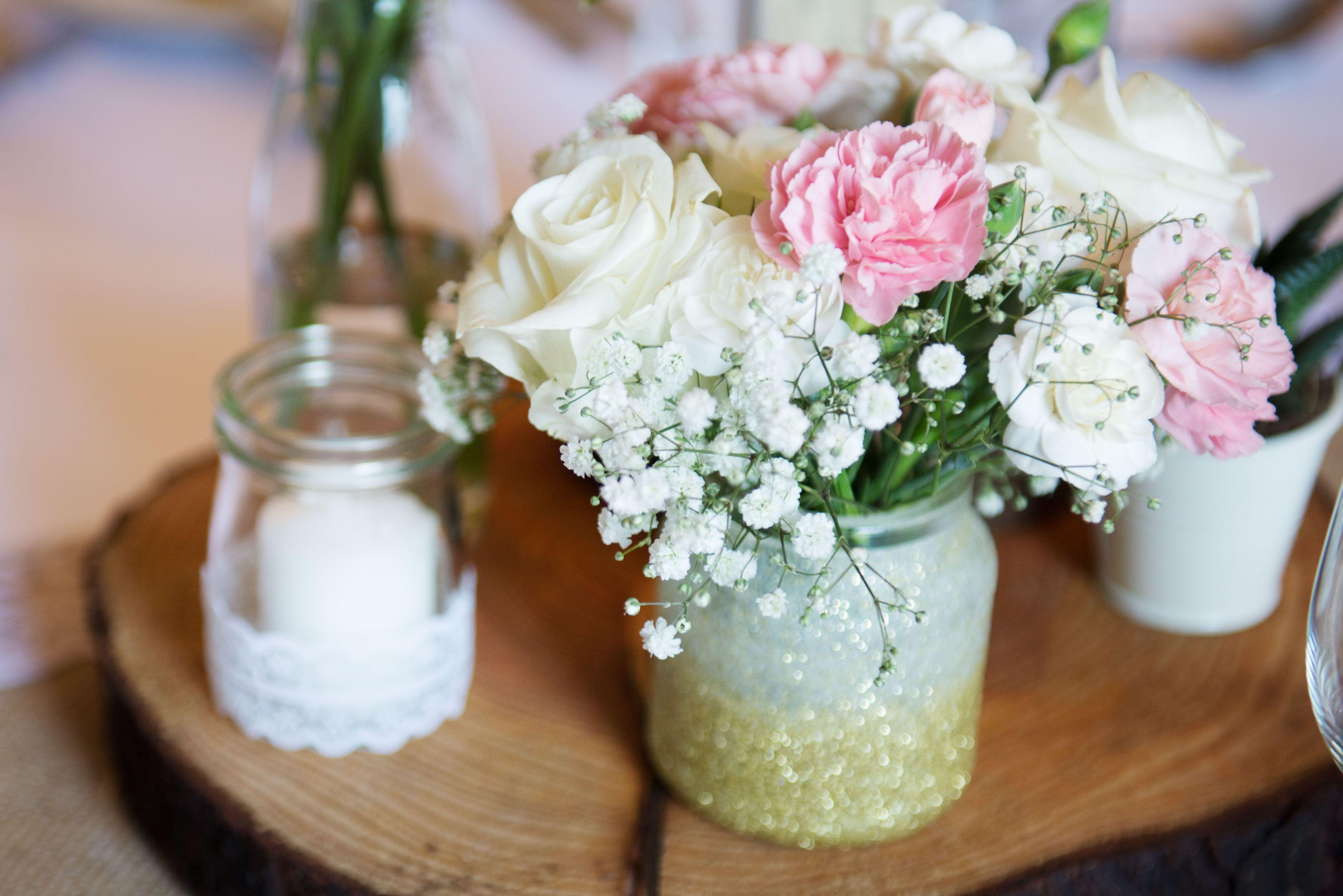 Diy vintage wedding centrepiece succulents candles bottles wood