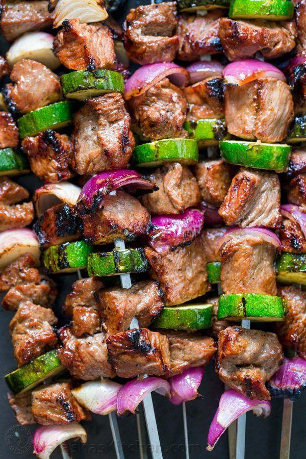 Grilled Steak Kebabs Recipe (Natasha's Kitchen) #grilledsteakmarinades