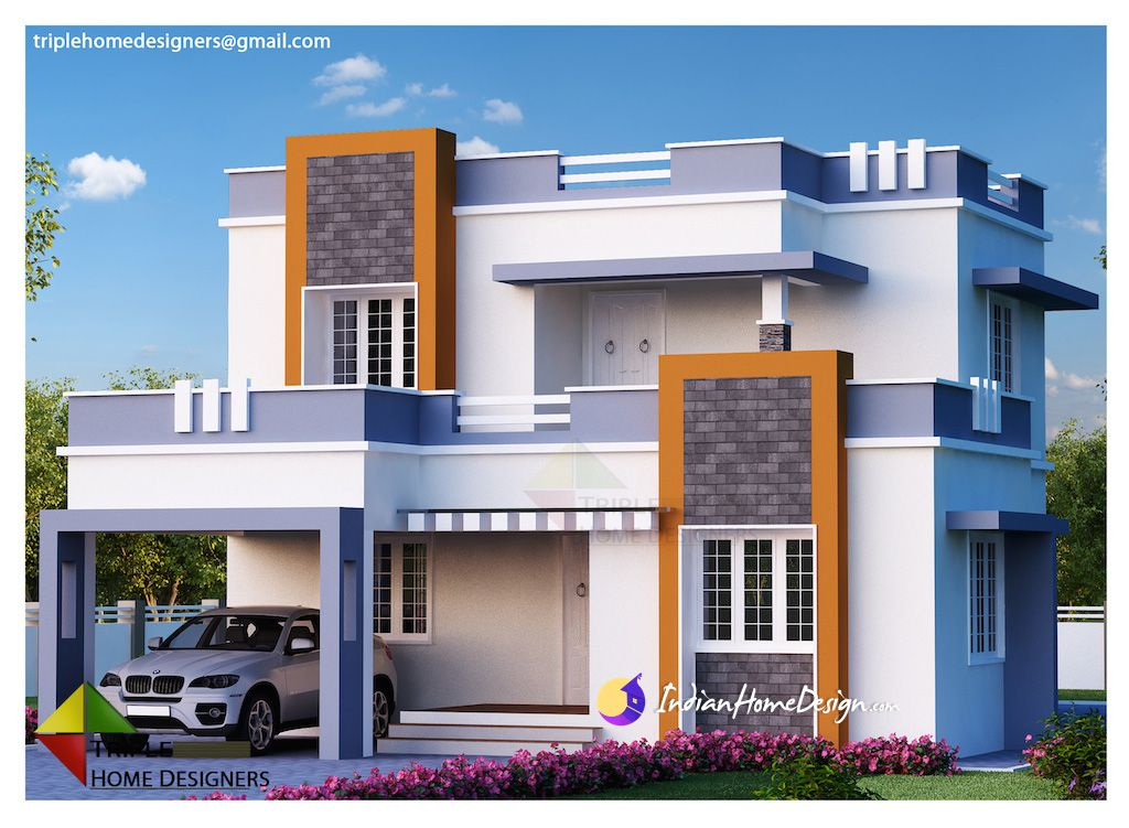 1987 Sqft 3 Bedroom Contemporary Indian Home Design Indian Home Design House Designs Exterior House Siding Cost