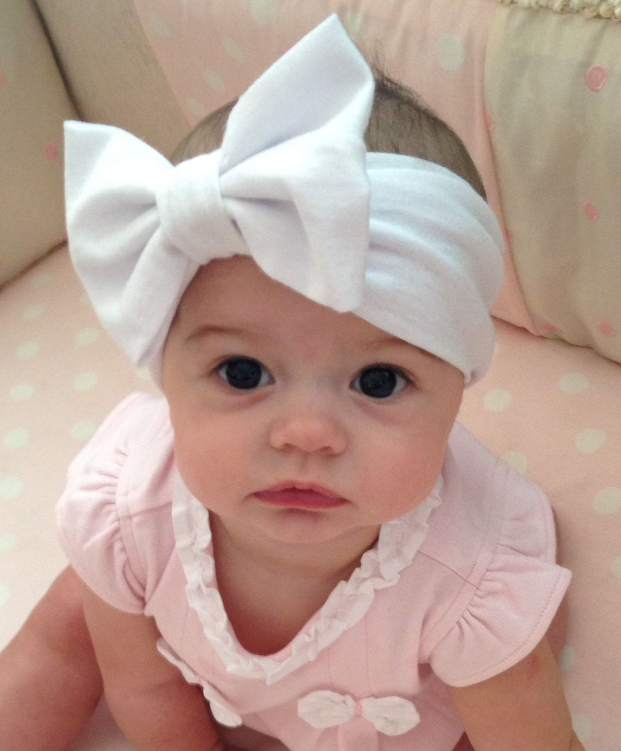 27b3fa1bd59 ... Toddler Headband - baby gift. White Bow Baby Headwrap by  QueenysTeenyBowtique on Etsy