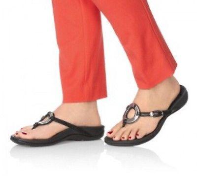 ecd190299b17 Vionic-Karina-Toe-Post-Sandals-Orthaheel-Size-8-Black-Silver-Pre-owned-Women -039-s