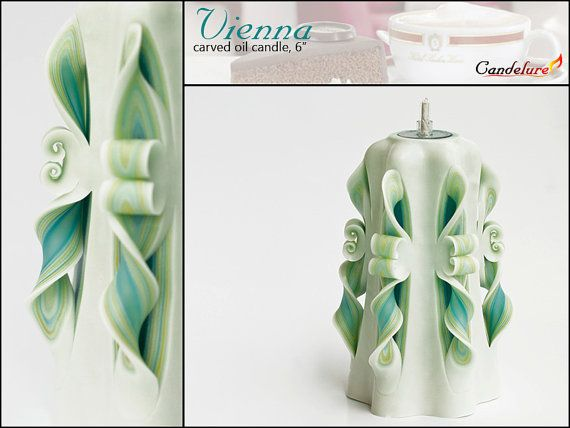Handmade carved oil candle  Vienna Teal Overture 6 by Candelure, $30.00