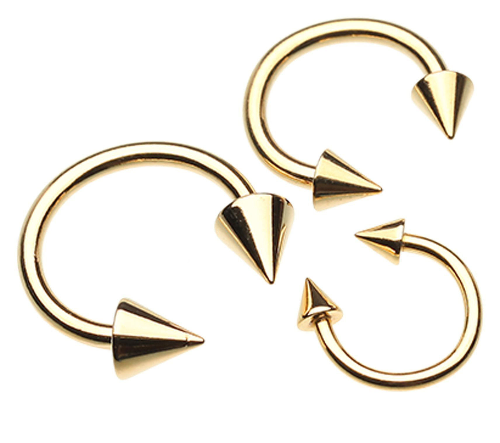 Nose piercing post  Gold Plated Spike Top Horseshoe Circular Barbell  Circular barbell