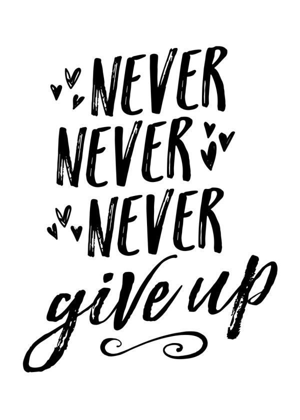 'Never Never Never Give Up' Poster by Noonday Design   Displate