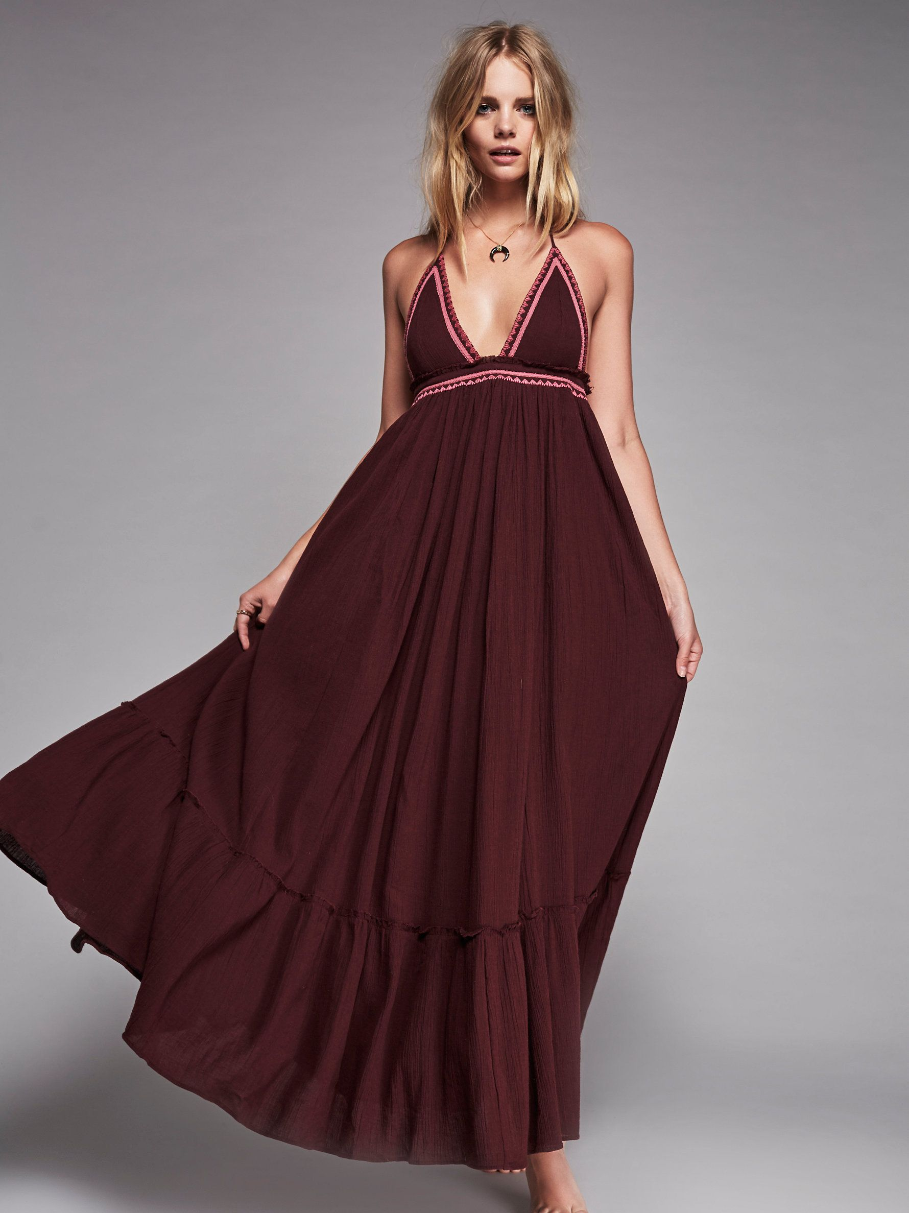 Love shakinu maxi crinkly cotton maxi dress featuring embroidery