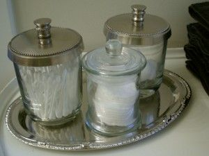 Dollar Store Find, The Glass Jars Hold Cotton Balls, Q Tips And Make Up  Rounds. They Sit On A Tray Ms. Leanne Purchased At A Dollar Store.