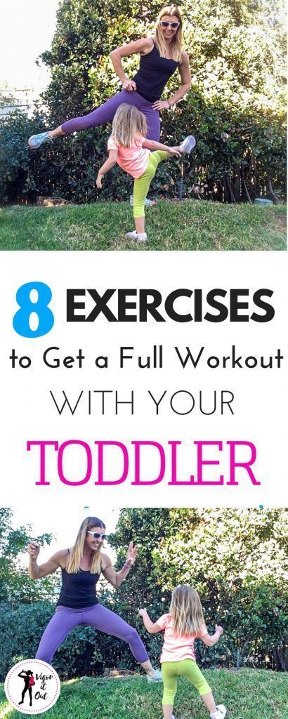 Really fun workouts to exercise with toddler. This 8 move cardio exercise routine has tons of tips a...