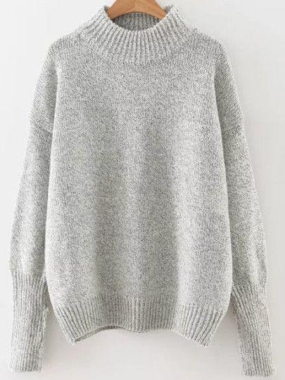 aaddd13215d4 Grey Crew Neck Ribbed Trim Drop Shoulder Sweater
