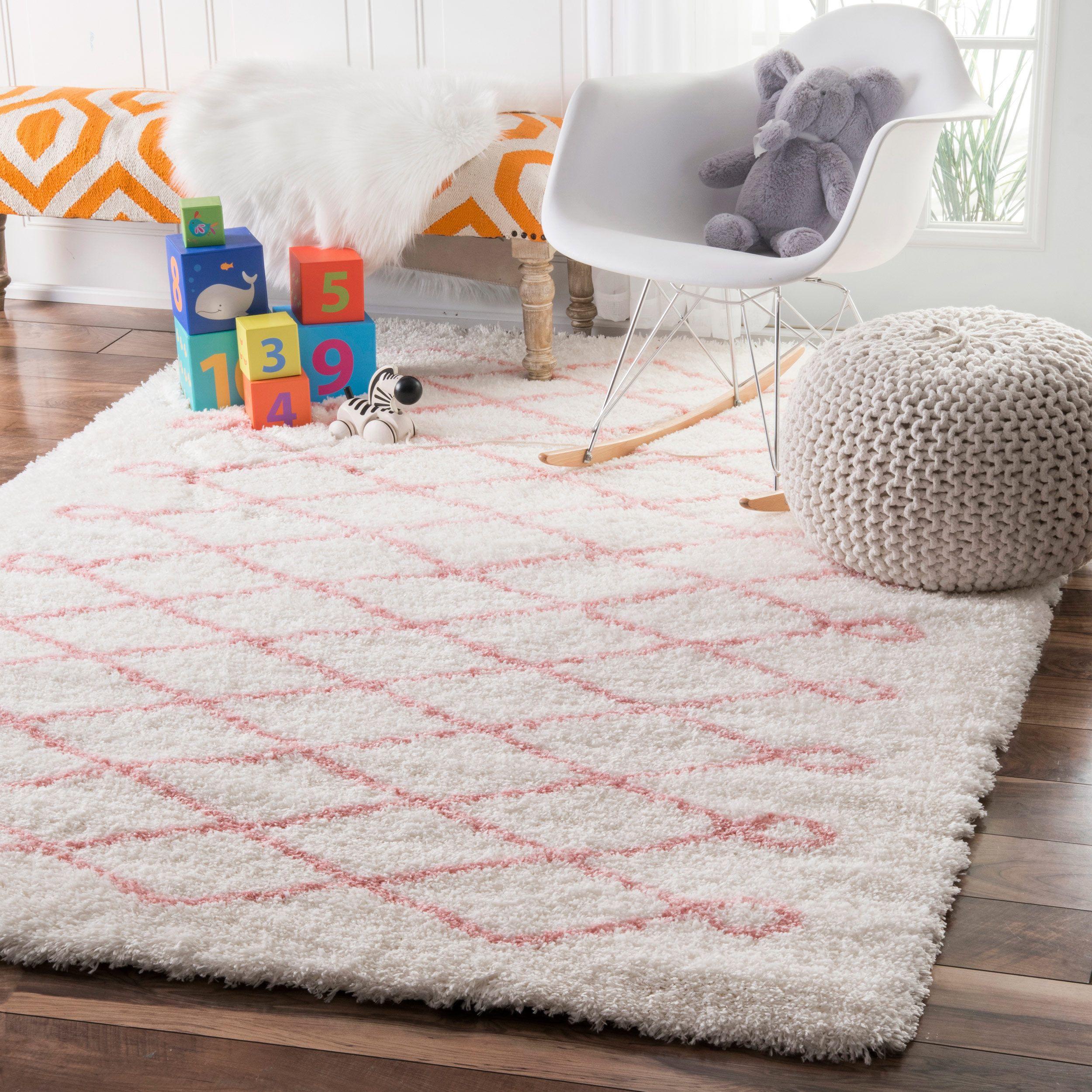 Nuloom Soft And Plush Cloudy Shag Diamond Kids Nursery Baby Pink Rug