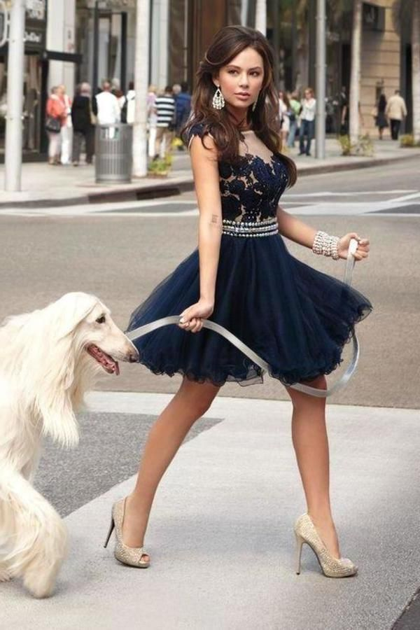 Fancy Short A-Line Navy Blue Homecoming Dress with XHNPST12222