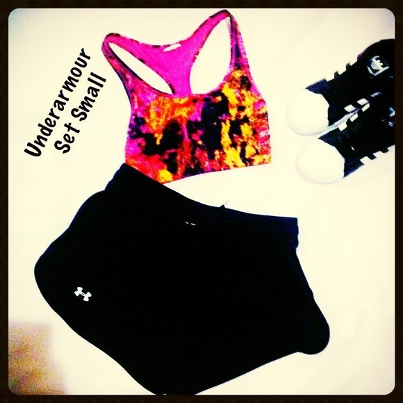 Underarmour set small shorts tie die sports bra Under armor set includes small under armor shorts and a red pink yellow tie-dye sports bra all in perfect condition Under Armour Shorts Cargos