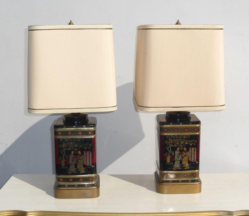 Pair Vtg Oriental Asian Tea Caddy TABLE LAMPS Black ...