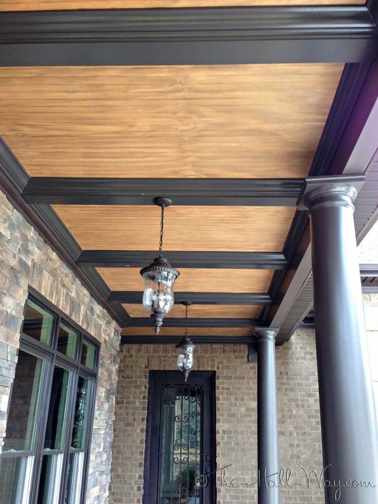 Porch Ceiling Rustic Honey Wood Slats With Tradition Black