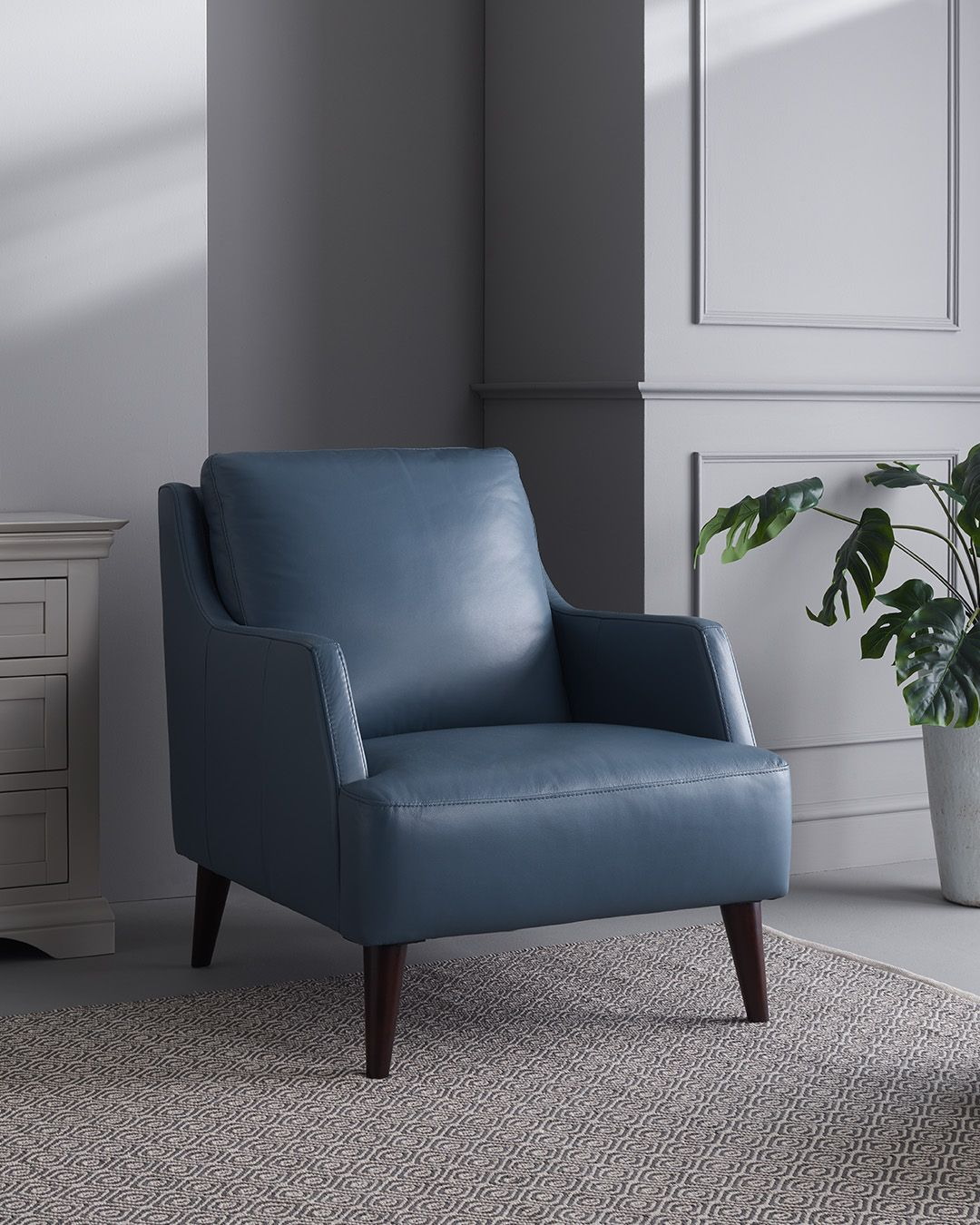 Trend Sky Blue Leather Accent Chair Blue accent chairs
