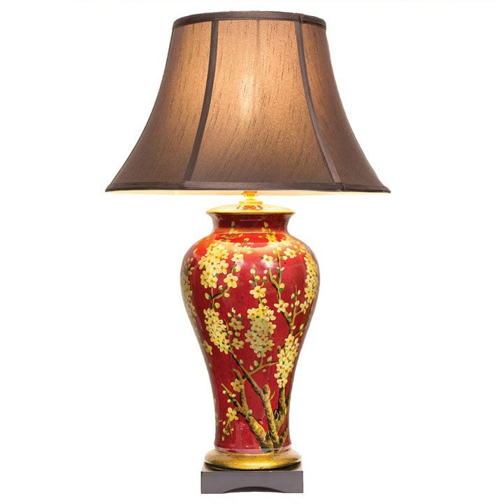 Tall Chinese Table Lamp In Red With Gold Jasmine Blossom Design And A Dark  Silk Shade