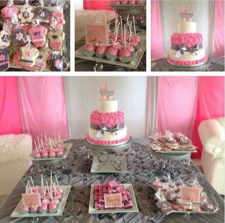 Girl Babyshower Ideas Baby Shower Cake Table Candy Buffet Baby