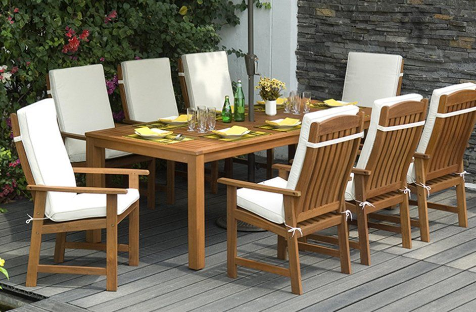 Seymour 8 Seater Dining Set With Cushions Wooden Dining Set Patio Furnishings Outdoor Dining Table