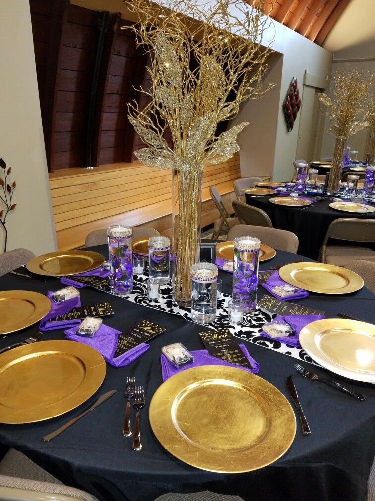 Black Gold Purple Table Design Decor By Denean S Party By
