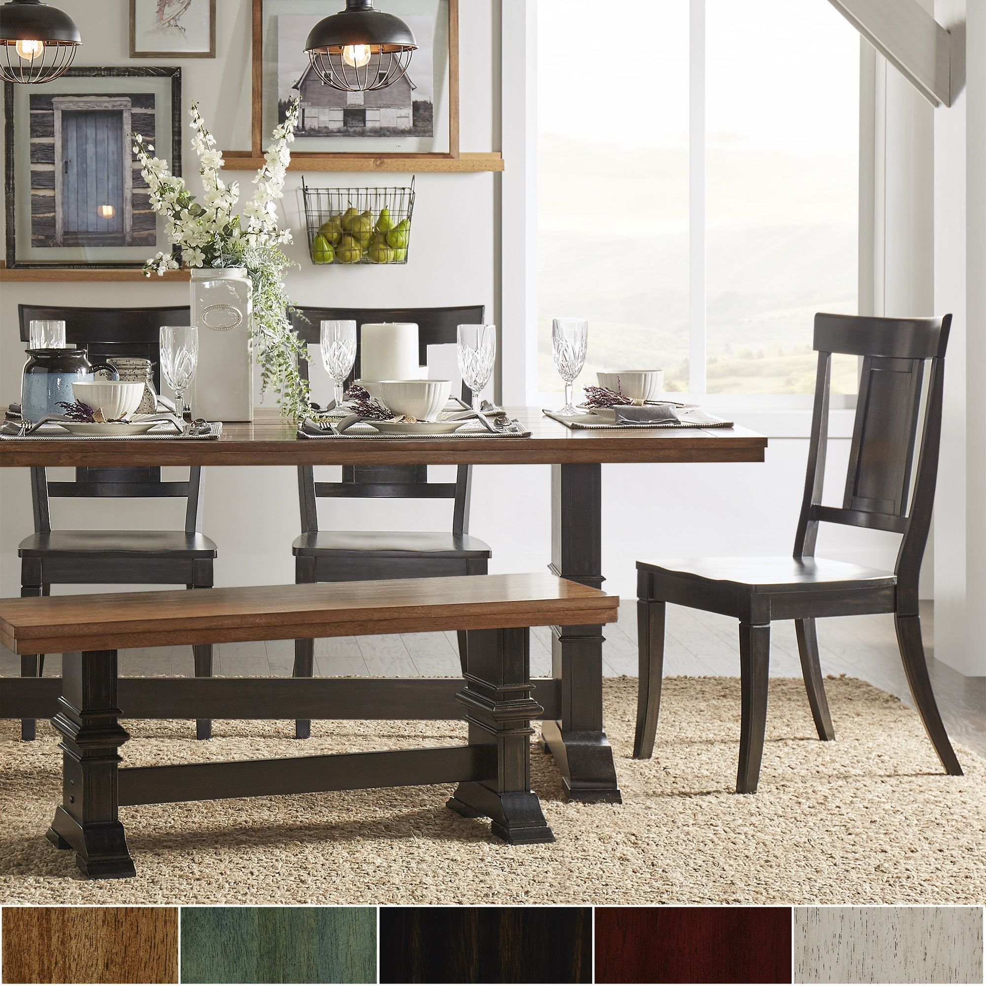 Eleanor Black Farmhouse Trestle Base Panel Back 6-piece Dining Set by  iNSPIRE Q Classic