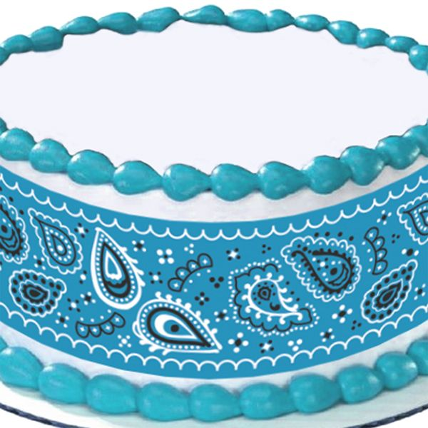Blue Bandana Round Edible Image Cake Decoration baby shower