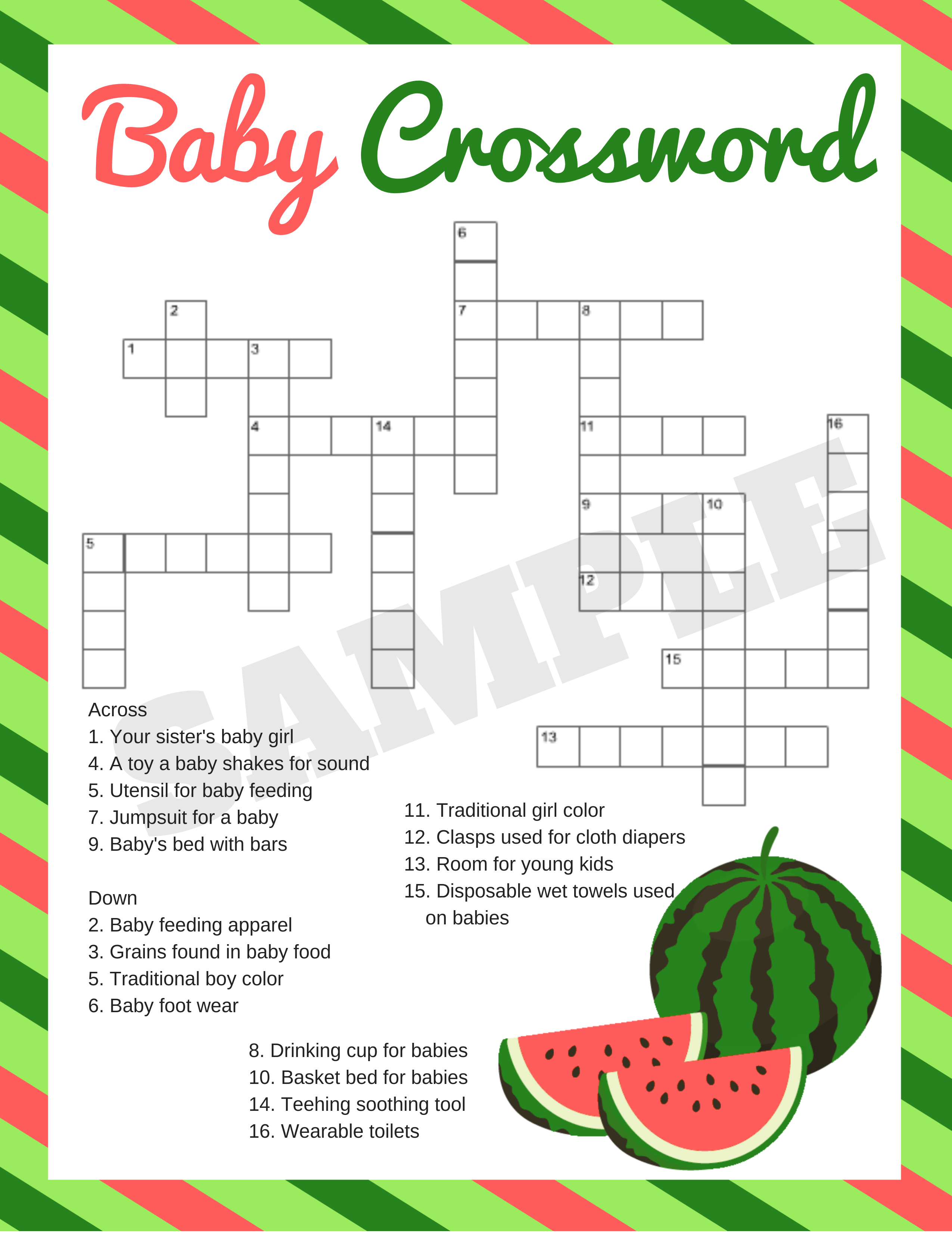 Watermelon Baby Shower Printable Games - Print My Baby Shower