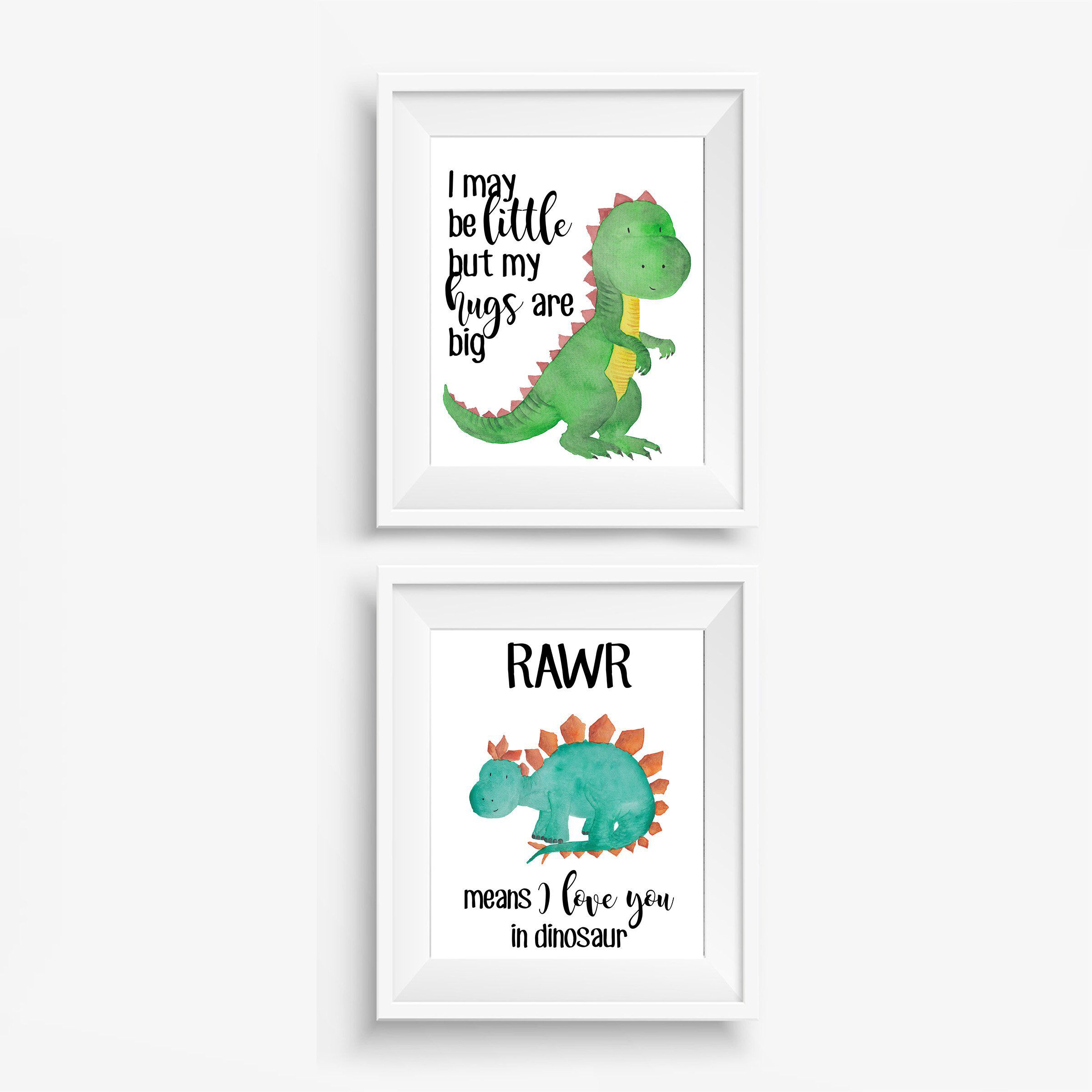 Dinosaur Nursery Print Set, Ready to Frame Posters, Dinosaur Nursery Decor #dinosaurnursery