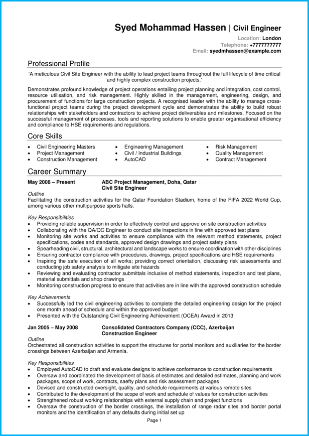 Engineer CV example page 1 | Career | Cv examples, Resume tips no
