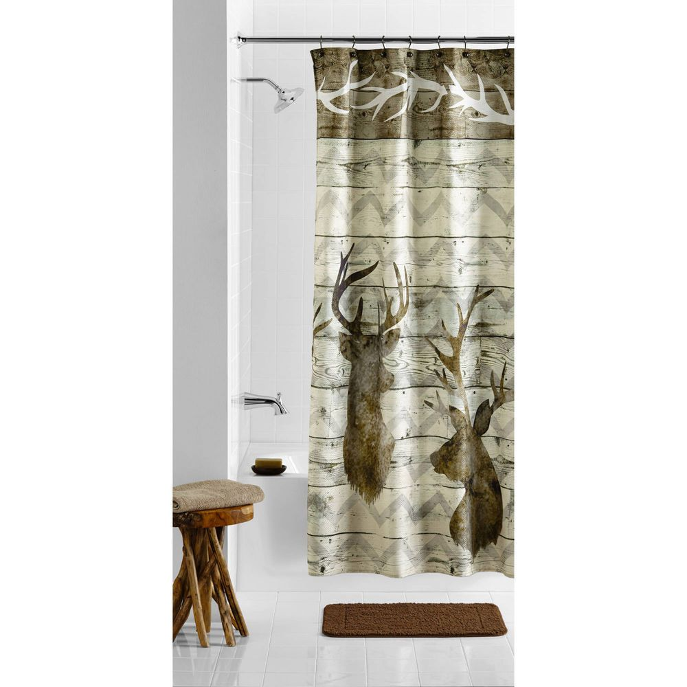 Rustic Deer Head Fabric Shower Curtain Hunting Lodge Cabin Northwoods Wood Brown