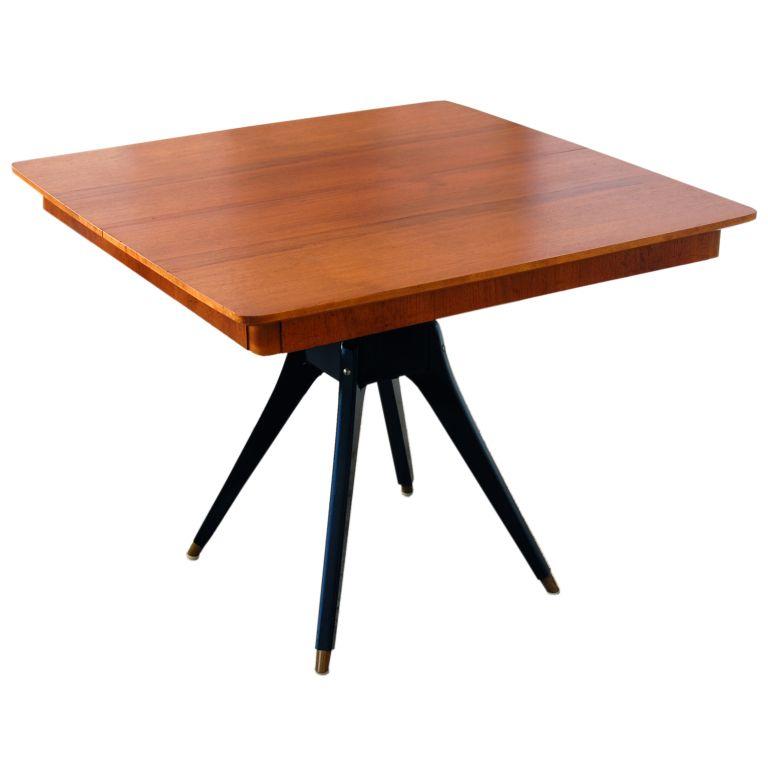 Swedish MidCentury Teak Pedestal Square Dining Table Center Of - Mid century square dining table