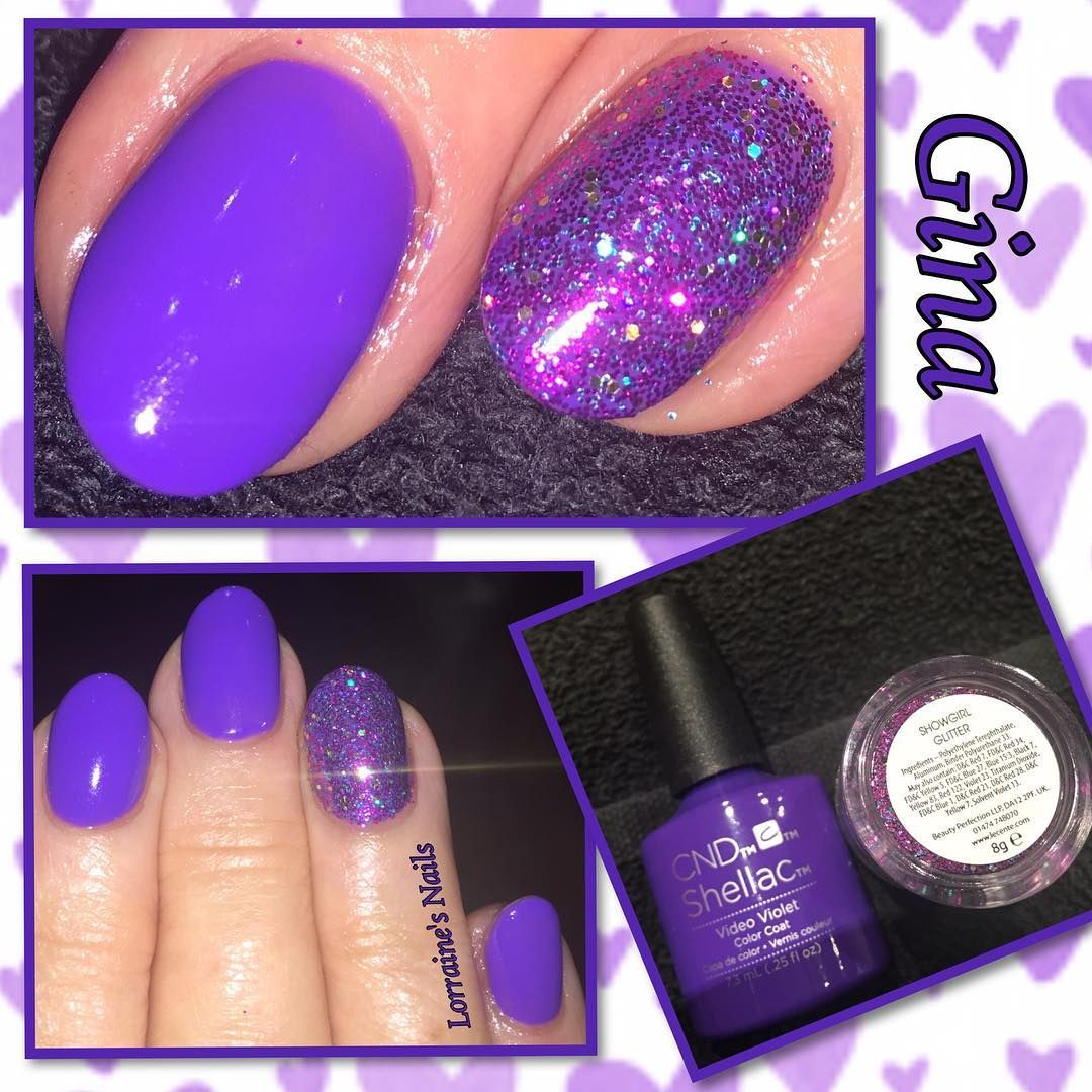 Nail art color violet - Cnd Video Violet With Lecente Glitter In Showgirl By Lorraineprangleynails Showgirlslecente Glitternail Art