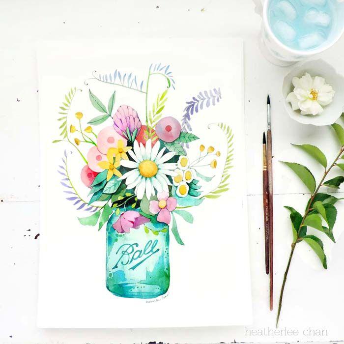 Mason Jar And Flowers Watercolor Art Painting By Heatherlee Chan
