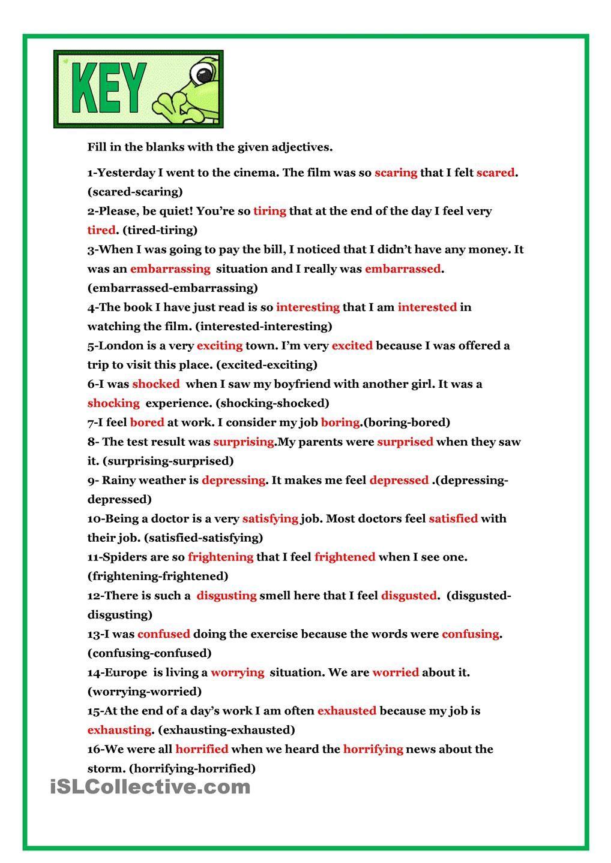 worksheet Ing Worksheets ed ing adjectives pinterest worksheets printable adjectives