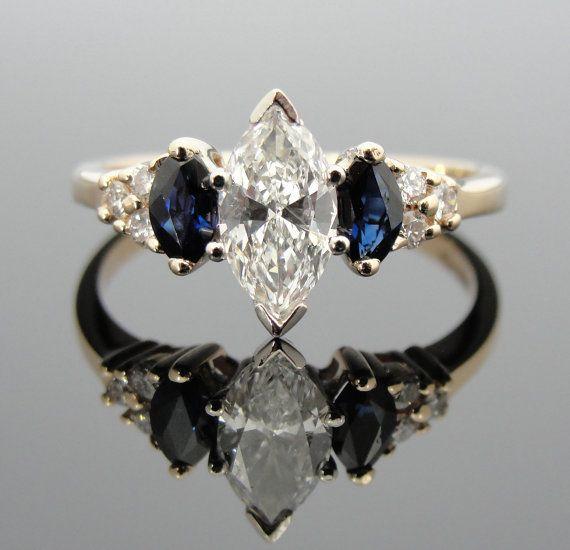 Vintage Ladies Marquis Diamond Three Stone And Sapphire Ring Engagement Rings Sapphire Marquise Diamond Halo Diamond Engagement Ring