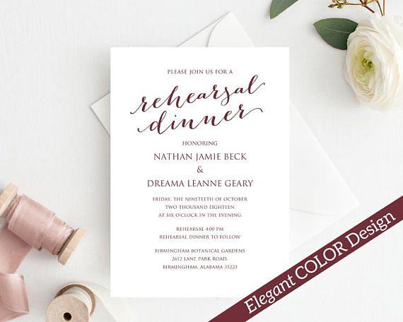 Rehearsal Dinner Invitation Template, DIY Printing, Custom
