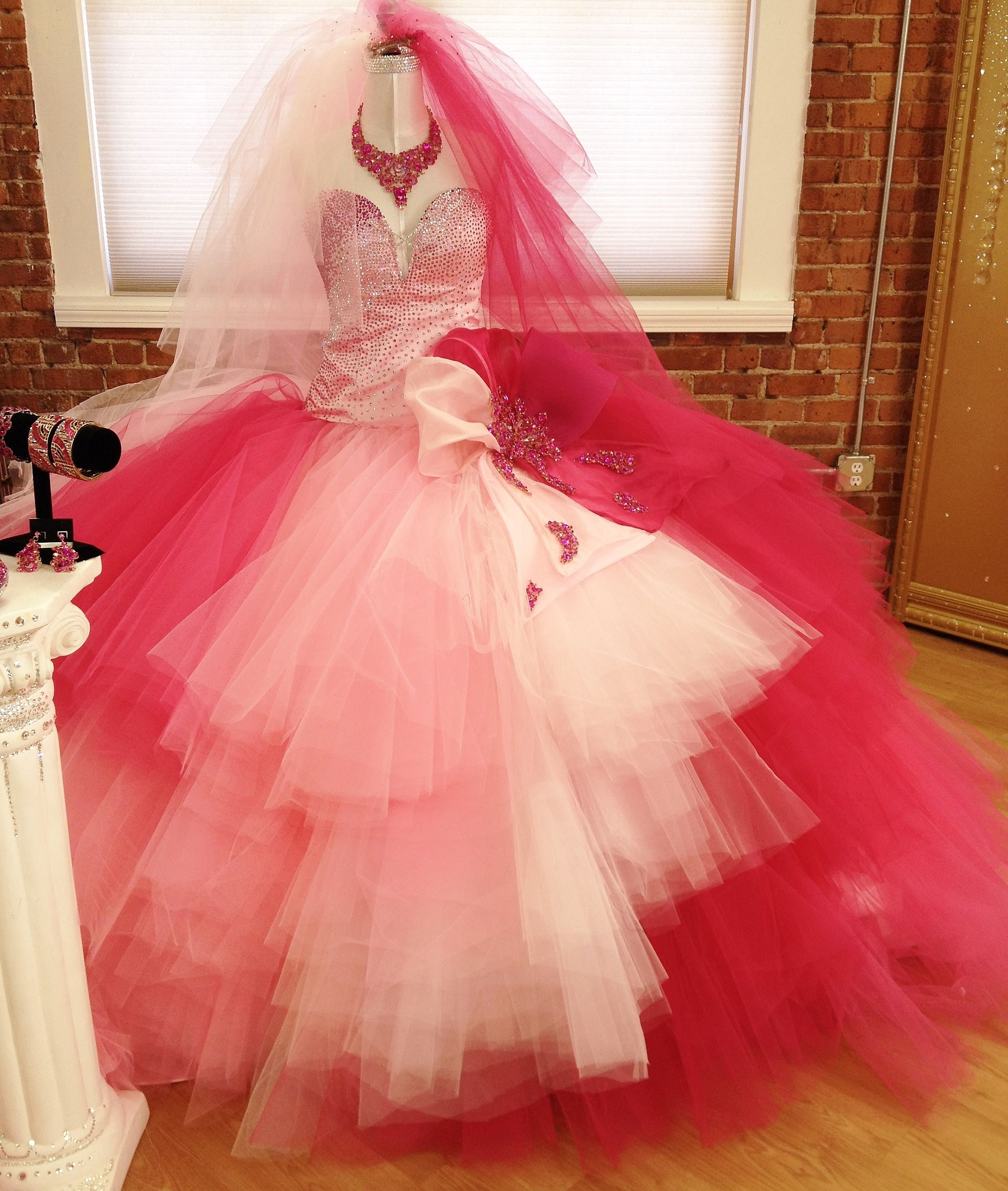 Pink ombr gypsy wedding dress by crystal couture designer for Big gypsy wedding dresses for sale