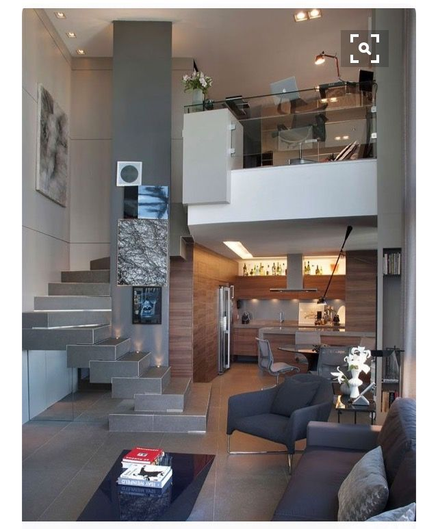 Studio loft with home office on the mezzanine also house design in rh pinterest