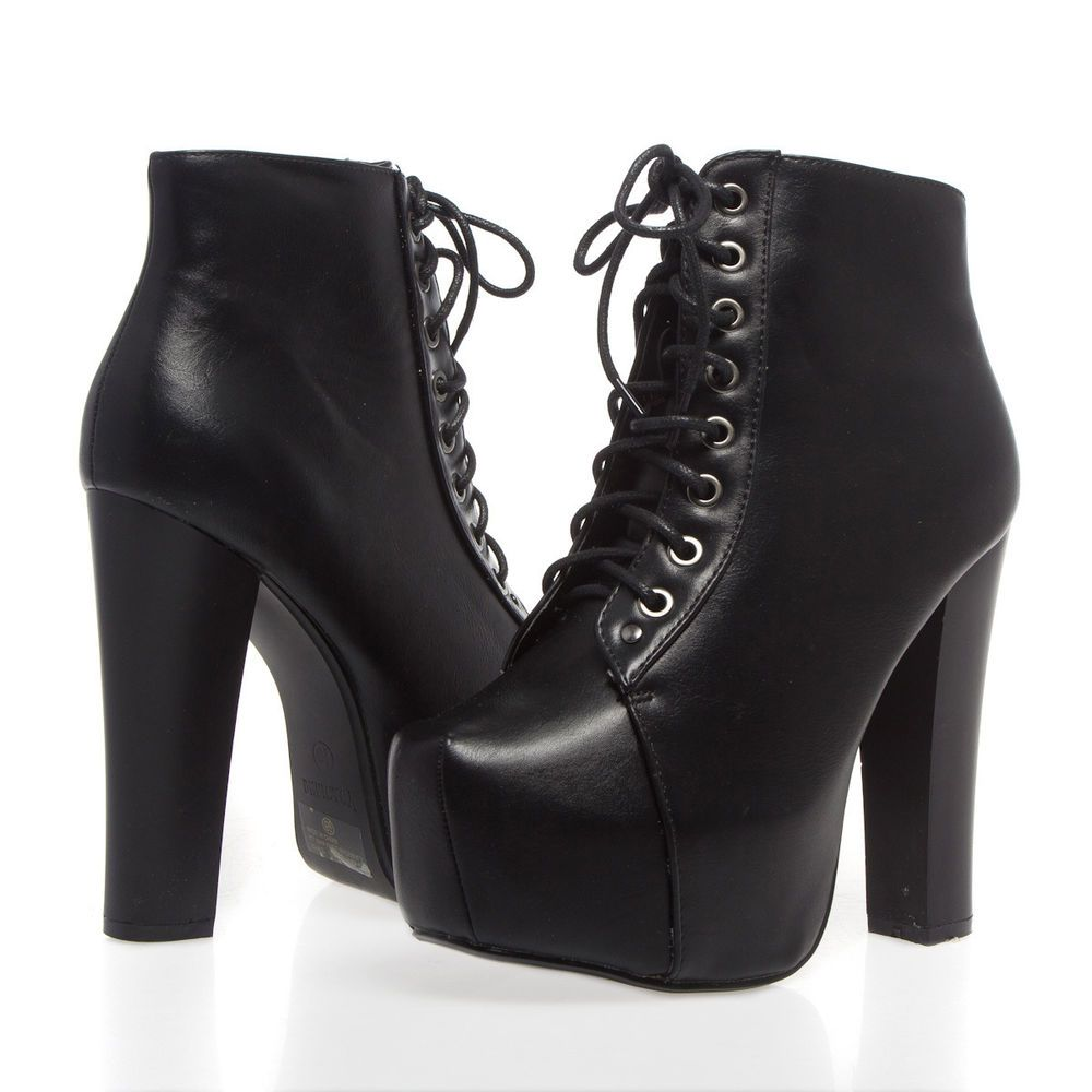 38659045ec Womens Black Square Toe Platform Ankle Bootie Lace Up Chunky High Heel Pump  Boot #Delicacy #AnkleBoots #Casual